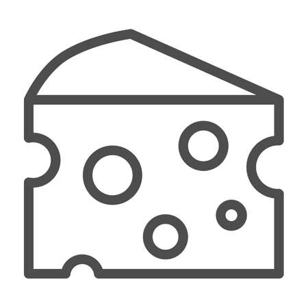 Cheese line icon, picnic concept, slice of cheese sign on white background, cut cheese piece icon in outline style for mobile concept and web design. Vector graphics.