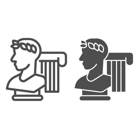 Greek statue and column line and solid icon, Back to school concept, monument and column sign on white background, Vintage ancient Greece elements icon in outline style for mobile. Vector graphics.