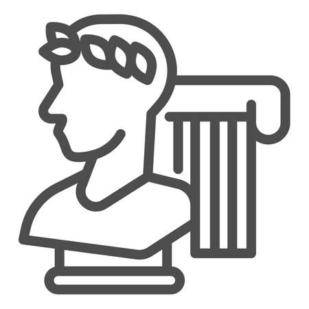Greek statue and column line icon, Back to school concept, monument and column sign on white background, Vintage ancient Greece elements icon in outline style for mobile. Vector graphics.