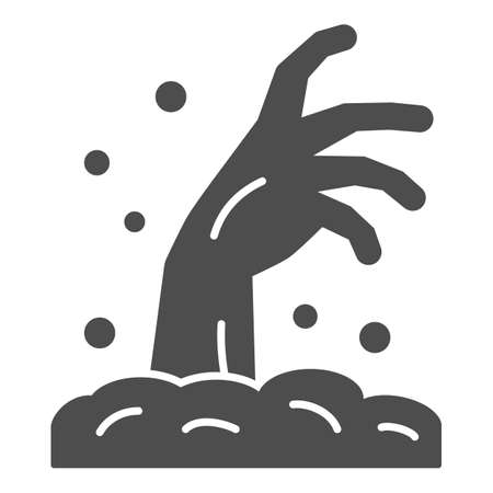 Zombie hand solid icon, Halloween concept, Hand in ground sign on white background, Zombie hand rising out of ground icon in glyph style for mobile concept and web design. Vector graphics.