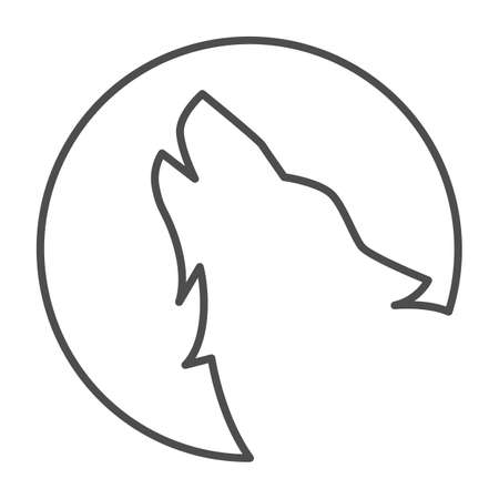 Wolf howling at moon thin line icon, Halloween concept, Wolf and moon sign on white background, Howling coyote icon in outline style for mobile concept and web design. Vector graphics. Vector Illustration