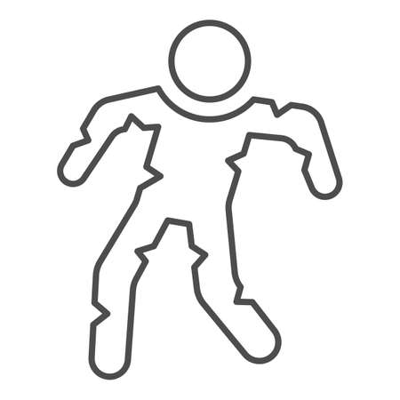 Walking zombie thin line icon, Halloween concept, mummy character sign on white background, zombie icon in outline style for mobile concept and web design. Vector graphics.