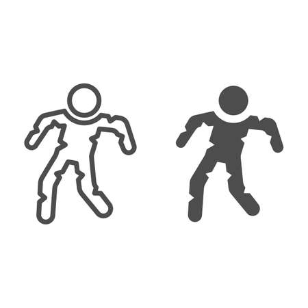 Walking zombie line and solid icon, Halloween concept, mummy character sign on white background, zombie icon in outline style for mobile concept and web design. Vector graphics.