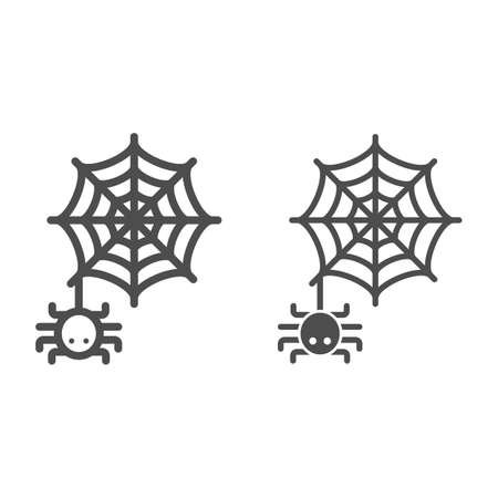 Spider and web line and solid icon, Halloween concept, Spider sign on white background, Araneae on mesh icon in outline style for mobile concept and web design. Vector graphics.