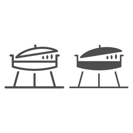 Barbecue grill line and solid icon, bbq concept, brazier sign on white background, Frying pan with lid for picnic icon in outline style for mobile concept and web design. Vector graphics.