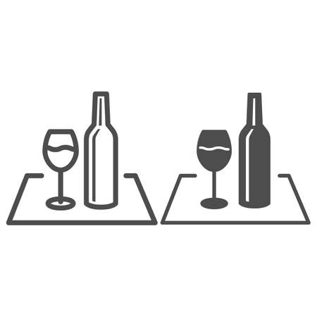 Glass of wine and bottle on the tablecloth line and solid icon, picnic concept, picnic food sign on white background, wineglass and bottle icon in outline style for mobile and web. Vector graphics.