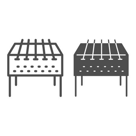 Home barbecue brazier line and solid icon, bbq concept, grill sign on white background, Outdoor barbecue icon in outline style for mobile concept and web design. Vector graphics.
