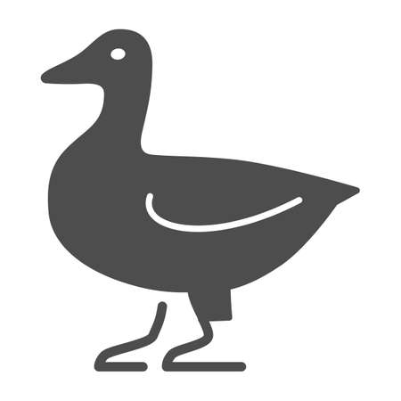 Duck solid icon, Farm animals concept, domestic fowl sign on white background, Duck bird silhouette icon in glyph style for mobile concept and web design. Vector graphics.