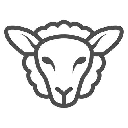 Sheep head line icon, Farm animals concept, lamb sign on white background, silhouette of sheep face icon in outline style for mobile concept and web design. Vector graphics.