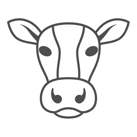 Cow head thin line icon, livestock concept, cattle sign on white background, Dairy cow head silhouette icon in outline style for mobile concept and web design. Vector graphics. 向量圖像