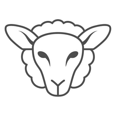 Sheep head thin line icon, Farm animals concept, lamb sign on white background, silhouette of sheep face icon in outline style for mobile concept and web design. Vector graphics. Ilustracje wektorowe