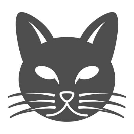 Cat head solid icon, pets concept, kitten face sign on white background, cat head silhouette icon in glyph style for mobile concept and web design. Vector graphics.