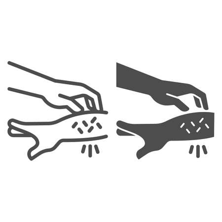 Allergic hand scabies line and solid icon, Allergy concept, Rash hand sign on white background, one hand scratches other because of allergies icon in outline style for mobile and web. Vector graphics.