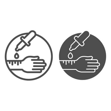 Hand with pipette line and solid icon, Allergy concept, Allergy test sign on white background, hand and pipette with allergens icon in outline style for mobile concept and web design. Vector graphics.  イラスト・ベクター素材