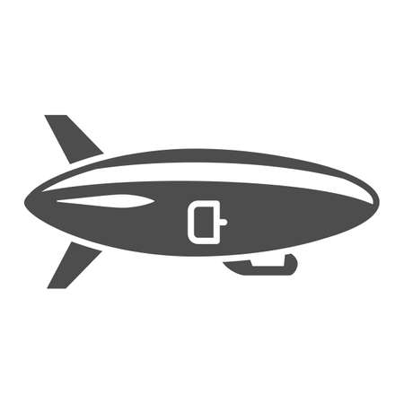 Airship solid icon, Air transport and flying concept, Air Balloon sign on white background, Dirigible icon in glyph style for mobile concept and web design. Vector graphics. Vettoriali