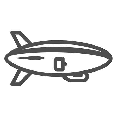 Airship line icon, Air transport and flying concept, Air Balloon sign on white background, Dirigible icon in outline style for mobile concept and web design. Vector graphics. Vettoriali
