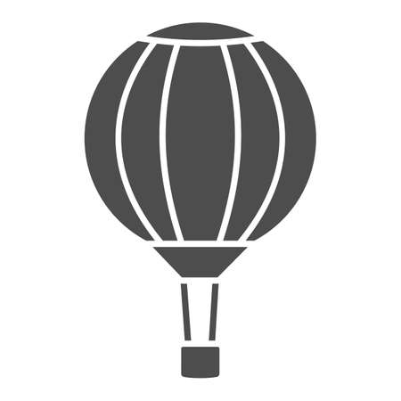 Striped hot air balloon solid icon, Balloons festival concept, Air transport for travel sign on white background, Sky balloon icon in glyph style for mobile and web design. Vector graphics.