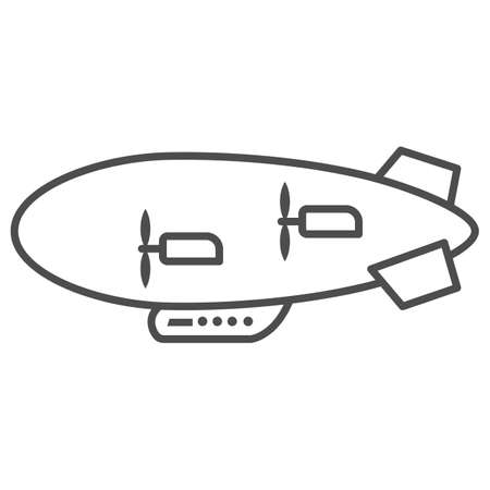 Airship thin line icon, Air transport and flying concept, Aerostat sign on white background, Dirigible icon in outline style for mobile concept and web design. Vector graphics.