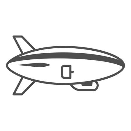 Airship thin line icon, Air transport and flying concept, Air Balloon sign on white background, Dirigible icon in outline style for mobile concept and web design. Vector graphics. Vettoriali