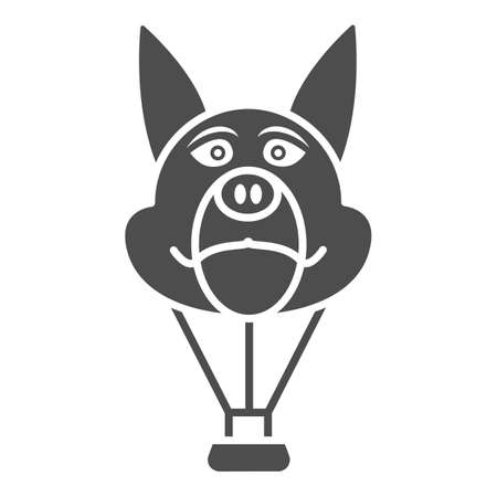 Dog head balloon solid icon, Balloons festival concept, Air transport for kids sign on white background, hot air balloon in shape of dog icon in glyph style for mobile. Vector graphics. Vettoriali
