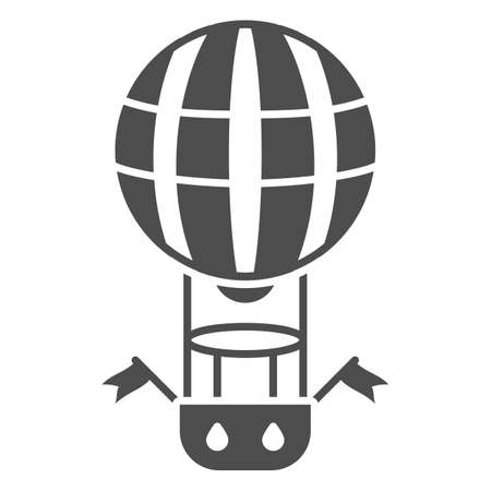 Striped balloon with basket solid icon, Balloons festival concept, Air transport for travel sign on white background, hot air balloon icon in glyph style for mobile, web. Vector graphics. Vettoriali