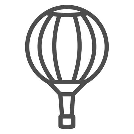 Striped hot air balloon line icon, Balloons festival concept, Air transport for travel sign on white background, Sky balloon icon in outline style for mobile and web design. Vector graphics. Vettoriali