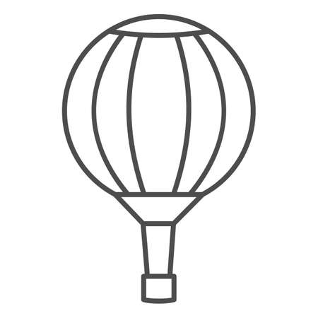 Striped hot air balloon thin line icon, Balloons festival concept, Air transport for travel sign on white background, Sky balloon icon in outline style for mobile and web design. Vector graphics. Vettoriali