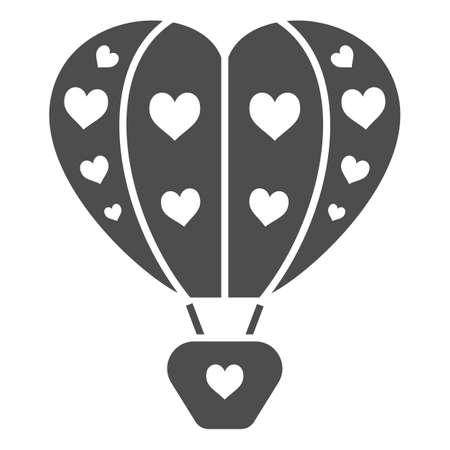 Hot air balloon with hearts solid icon, Balloons festival concept, love travel sign on white background, Heart shaped air balloon icon in glyph style for mobile and web. Vector graphics.
