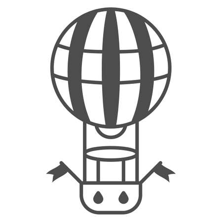 Striped balloon with basket thin line icon, Balloons festival concept, Air transport for travel sign on white background, hot air balloon icon in outline style for mobile, web. Vector graphics.