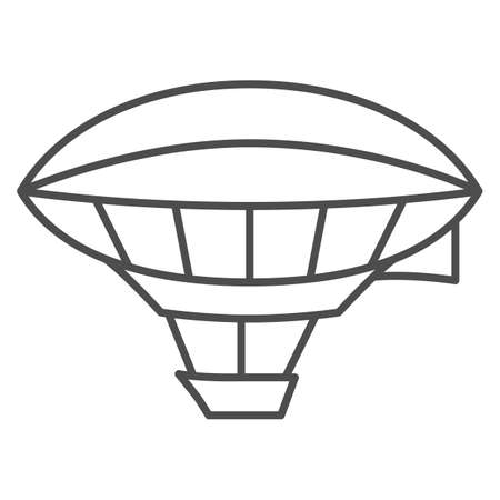 Airship shaped balloon thin line icon, Balloons festival concept, Aerostat sign on white background, Dirigible icon in outline style for mobile concept and web design. Vector graphics.