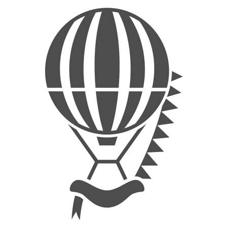 Striped hot air balloon with flags solid icon, Balloons festival concept, Air transport sign on white background, balloon icon in glyph style for mobile and web design. Vector graphics.