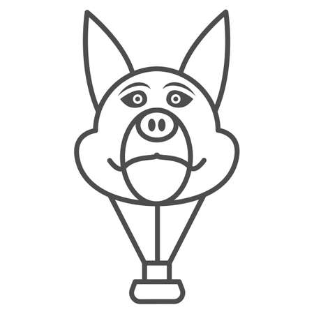 Dog head balloon thin line icon, Balloons festival concept, Air transport for kids sign on white background, hot air balloon in shape of dog icon in outline style for mobile. Vector graphics.