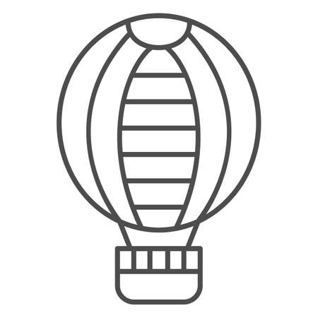 Striped hot air balloon thin line icon, Balloons festival concept, Air transport for travel sign on white background, balloon icon in outline style for mobile and web design. Vector graphics. Vettoriali
