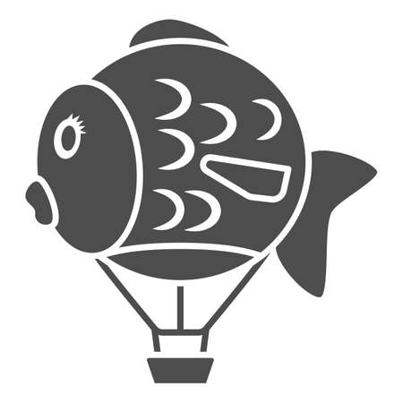Balloon in shape of fish solid icon, Balloons festival concept, Air transport for kids sign on white background, hot air balloon icon in glyph style for mobile. Vector graphics.