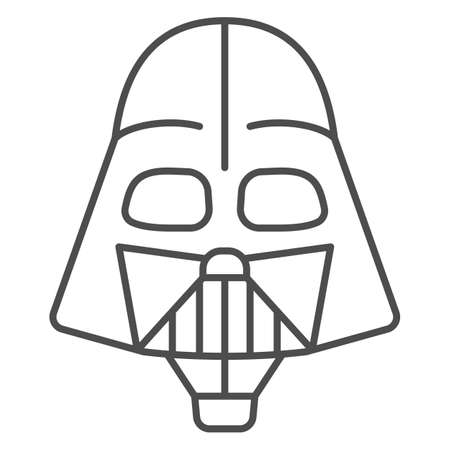 Head of Darth Vader air balloon with basket thin line icon, Balloons festival concept, kids air travel sign on white background, Darth Vader hot air balloon icon outline style. Vector graphics.