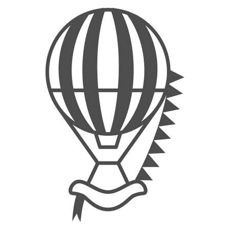 Striped hot air balloon with flags thin line icon, Balloons festival concept, Air transport sign on white background, balloon icon in outline style for mobile and web design. Vector graphics. Vettoriali