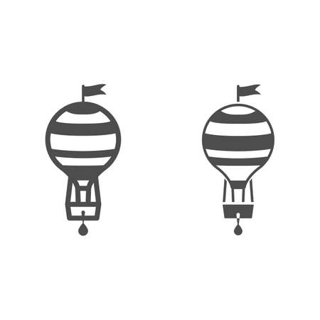 Striped hot air balloon with basket and flag line and solid icon, Balloons festival concept, Air transport sign on white background, balloon icon in outline style for mobile and web. Vector graphics.