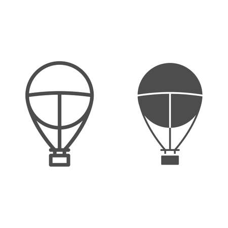 Hot air balloon line and solid icon, balloon journey concept, Aerostat sign on white background, Airship travel symbol in outline style for mobile concept and web design. Vector graphics. Vettoriali