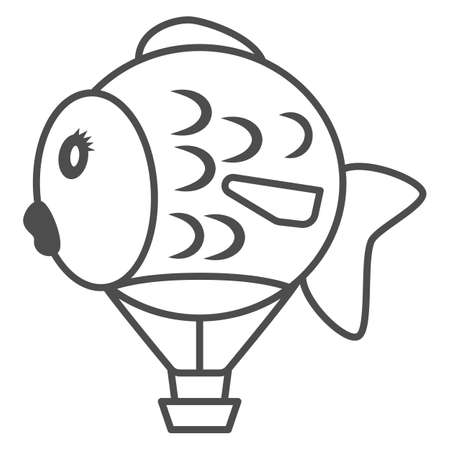 Balloon in shape of fish thin line icon, Balloons festival concept, Air transport for kids sign on white background, hot air balloon icon in outline style for mobile. Vector graphics.