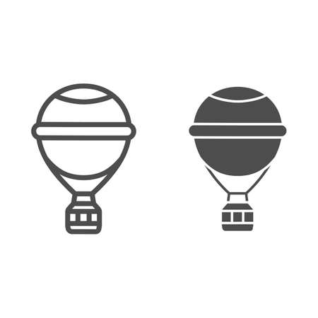 Round balloon with basket line and solid icon, Balloons festival concept, Air transport for travel sign on white background, hot air balloon icon in outline style for mobile and web. Vector graphics. Vettoriali