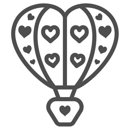 Hot air balloon with hearts line icon, Balloons festival concept, love travel sign on white background, Heart shaped air balloon icon in outline style for mobile and web. Vector graphics. Vettoriali