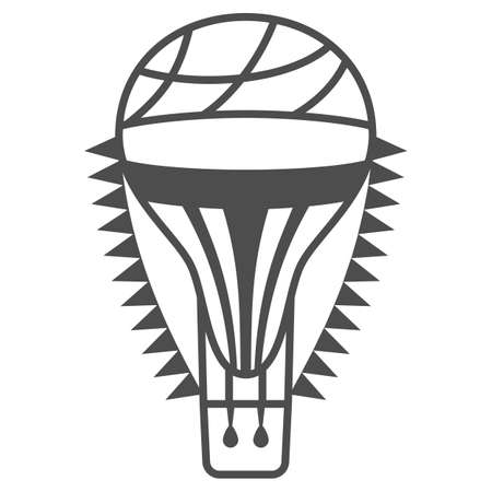Hot air balloon with flags thin line icon, Balloons festival concept, Air transport for travel sign on white background, balloon icon in outline style for mobile and web design. Vector graphics. Vettoriali