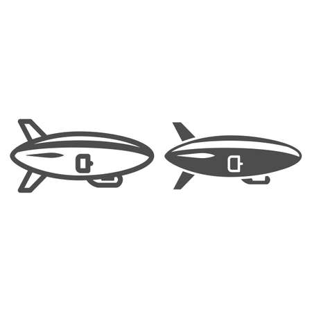 Airship line and solid icon, Air transport and flying concept, Air Balloon sign on white background, Dirigible icon in outline style for mobile concept and web design. Vector graphics.