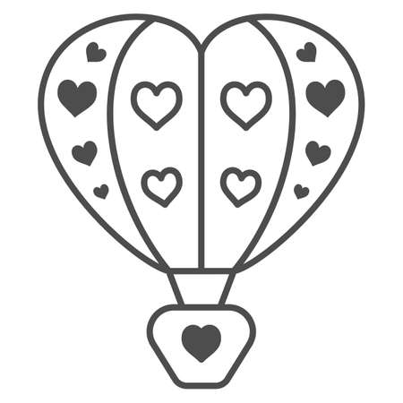 Hot air balloon with hearts thin line icon, Balloons festival concept, love travel sign on white background, Heart shaped air balloon icon in outline style for mobile and web. Vector graphics.