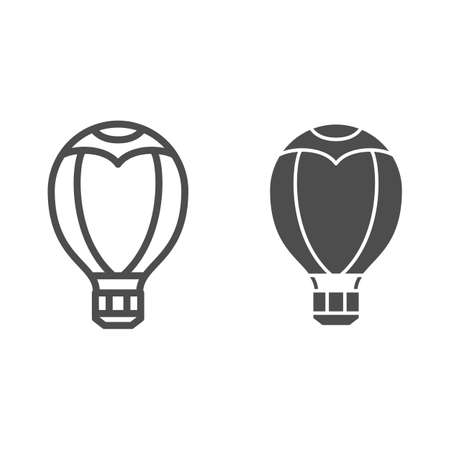 Hot air balloon line and solid icon, Balloons festival concept, Aerostat sign on white background, Balloon icon in outline style for mobile concept and web design. Vector graphics.