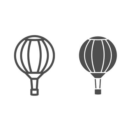 Striped hot air balloon line and solid icon, Balloons festival concept, Air transport for travel sign on white background, Sky balloon icon in outline style for mobile and web design. Vector graphics.