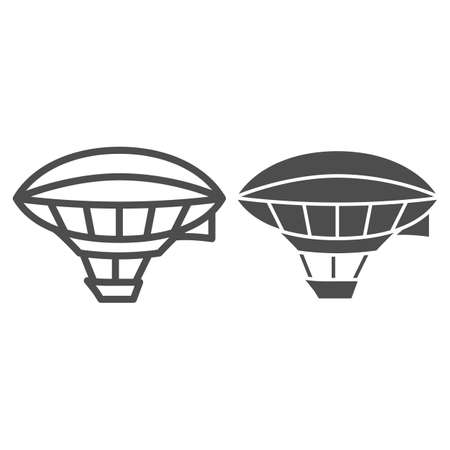 Airship shaped balloon line and solid icon, Balloons festival concept, Aerostat sign on white background, Dirigible icon in outline style for mobile concept and web design. Vector graphics.