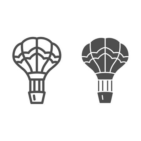 Balloon line and solid icon, Balloons festival concept, Air transport for travel sign on white background, hot air balloon in sky icon in outline style for mobile and web design. Vector graphics. Vettoriali