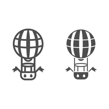 Striped balloon with basket line and solid icon, Balloons festival concept, Air transport for travel sign on white background, hot air balloon icon in outline style for mobile, web. Vector graphics.