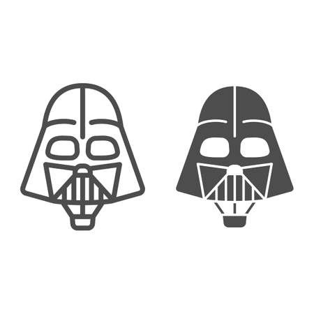Head of Darth Vader air balloon with basket line and solid icon, Balloons festival concept, kids air travel sign on white background, Darth Vader hot air balloon icon outline style. Vector graphics.